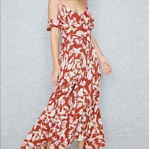 Topshop Cold Shoulder Floral Maxi Dress